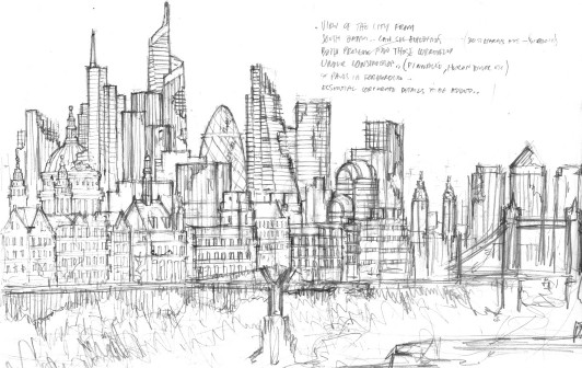 Sketch of ruined London