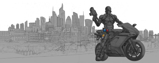 Detailed sketch of London and character